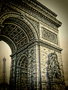 Champs Elysees Framed Prints - French - Arc de Triomphe and Eiffel Tower Framed Print by Lee Dos Santos