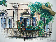 South Of France Mixed Media - French Balcony by Helen J Pearson
