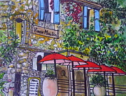 Bistro Paintings - French Bistro by Angela  Gannicott