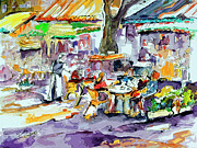 People Mixed Media Prints - French Bistro Street Scene Print by Ginette Callaway