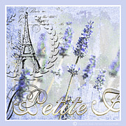 Eiffel Tower Mixed Media Metal Prints - French Blue Lavender Metal Print by Anahi DeCanio