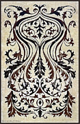Mirror Drawings - French Brocade Fleur de Lis. Black and Umber.  by Pierpont Bay Archives