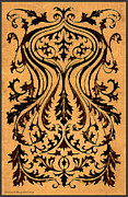 Mirror Drawings - French Brocade Fleur de Lis. Burnished Black and Red by Pierpont Bay Archives