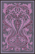Grape Leaves Drawings Posters - French Brocade Fleur de Lis. Mauve and Burgundy.  Poster by Pierpont Bay Archives