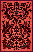 Mirror Drawings - French Brocade Fleur de Lis. Red and Steel Gray by Pierpont Bay Archives