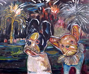 Fireworks Paintings - French Bull Dogs Watching Fireworks by Laura Davis