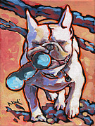 French Bulldog Paintings - French Bulldog and Toy by Nadi Spencer