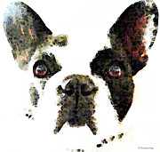 White Dogs Posters - French Bulldog Art - High Contrast Poster by Sharon Cummings