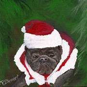 Christmas Outfit Framed Prints - French Bulldog in Santa Costume Framed Print by Penny Stewart