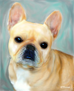 Pet Portraits Digital Art Posters - French Bulldog Mystique DOr Poster by Barbara Chichester