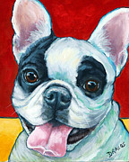 Painter And Dog Art - French Bulldog on Red by Dottie Dracos