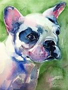 French Bulldog Greeting Card Posters - French Bulldog painting Poster by Marias Watercolor