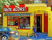French Fries Painting Posters - French Cafe Frite Alors Sandwich And Fries Shop Rue Laurier Montreal City Scene Art Carole Spandau Poster by Carole Spandau