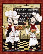 Wine Bottle Wall Art Photos - French Chefs-Bistro by Jean Plout