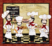 Coq Paintings - French Chefs-Bon Appetit by Jean Plout