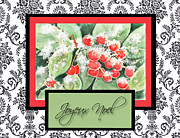Black Berries Framed Prints - French Christmas Card Framed Print by Carla Parris