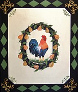 French Pears Prints - French Country Rooster With Pears Print by Cindy Micklos