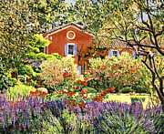 Gardenscape Paintings - French Countryside House by  David Lloyd Glover
