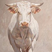 Salmon Painting Posters - French Cow  Poster by Anke Classen