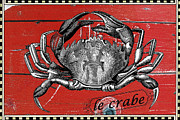 Patina Mixed Media Prints - French Crab Vintage Advertising Print by Anahi DeCanio