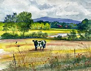 Barbed Wire Fences Painting Prints - French Creek Farm Print by Marilyn Smith