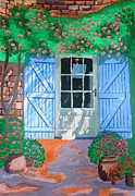 French Door Paintings - French farm yard by Magdalena Frohnsdorff