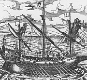 Transportation Drawings Prints - French galley operating in the ports of the Levant since Louis XI  Print by French School