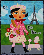 Paris Paintings - French Girl Walking Pink Poodle by LuLu Mypinkturtle