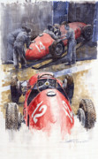 Retro Painting Prints - French GP 1952 Ferrari 500 F2 Print by Yuriy  Shevchuk