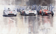 Cars Posters - French GP 1954 MB W 196 Meserati 250 F Poster by Yuriy  Shevchuk