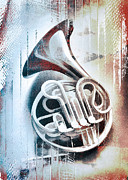 Instrument Digital Art Metal Prints - French Horn Metal Print by David Ridley