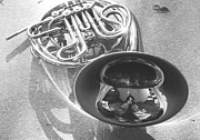 Marching Band Prints - French horn on ground black and white Print by Susan Marsh