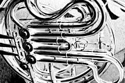 Marching Band Prints - French Horn Tubing Print by Susan Marsh