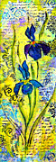 Decoupage Art - French Irises right side by Carla Parris