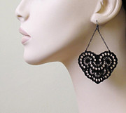 Silhouettes Jewelry - French Lace -Romantic heart chandelier earrings by Rony Bank