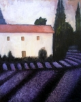 Farm House Mixed Media Posters - French Lavender Poster by Venus