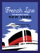Vintage Travel Digital Art Framed Prints - French Line New York Framed Print by Gary Grayson
