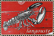 Lobster Sign Posters - French Lobster Vintage Print Poster by adSpice Studios