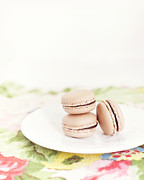 Dreamy Food Photography Prints - French Macaroons against Floral Pattern Print by Kim Lucian