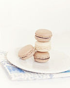 Dreamy Food Photography Framed Prints - French Macaroons against White and Blue- Framed Print by Kim Lucian