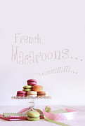 French Macaroons On Dessert Tray Print by Sandra Cunningham