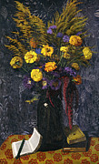 Table Cloth Prints - French Marigold Purple Daisies and Golden Sheaves Print by Felix Edouard Vallotton