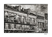 Bryant Framed Prints - French Market View in Black and White Framed Print by Brenda Bryant