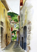 Backstreets Prints - French Mountain Village Print by Podi Lawrence