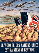 Advertisements Prints - French propaganda poster published in Algeria from World War II 1943 Print by Anonymous