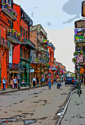 Street Photography Digital Art - French Quarter Afternoon line art by Steve Harrington
