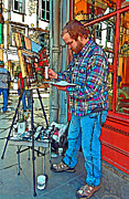 Street Photography Digital Art Prints - French Quarter Artist painted Print by Steve Harrington