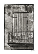 French Quarter Doors Framed Prints - French Quarter Balcony in Black and White Framed Print by Brenda Bryant