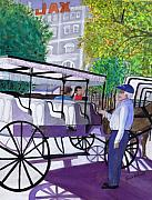 Vieux Carre Painting Originals - French Quarter Buggy Tour by June Holwell
