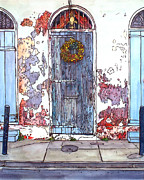Creole Paintings - French Quarter Door by John Boles